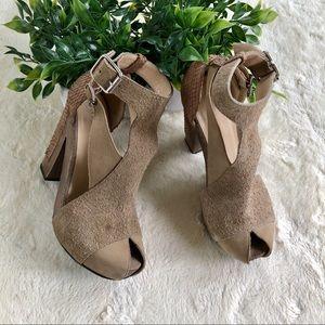 3.1 Phillip Lim tan nubuck suede leather heels 36